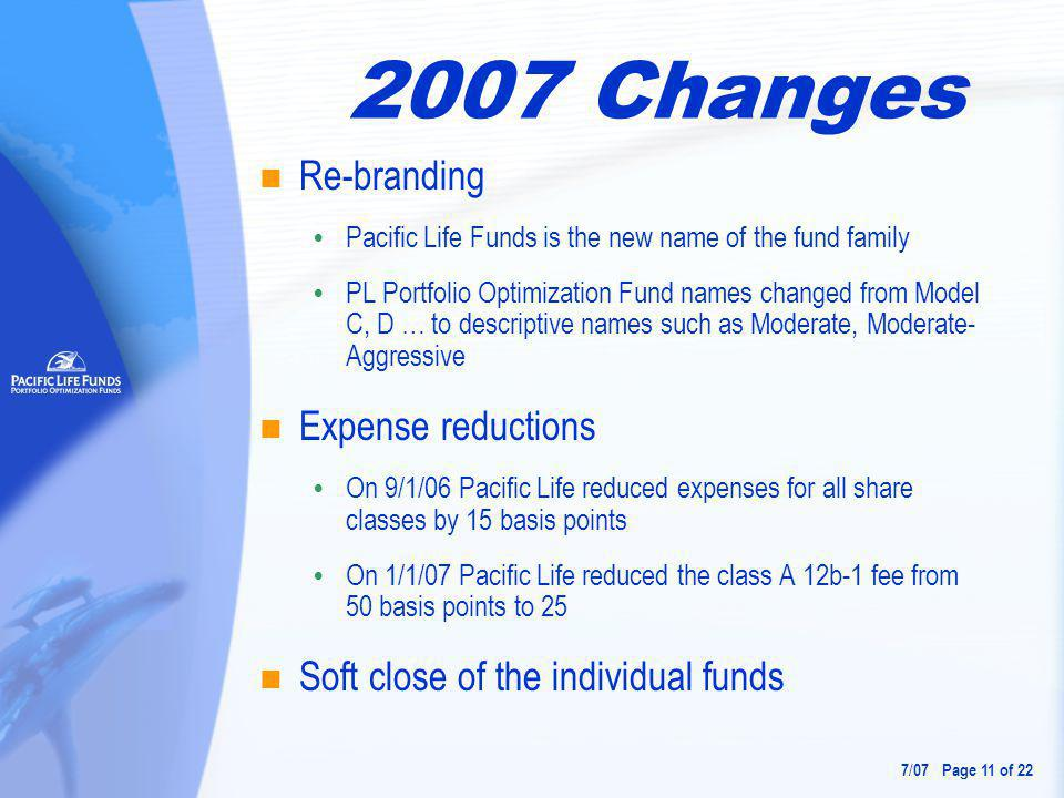 2007 Changes Re-branding  Pacific Life Funds is the new name of the fund family  PL Portfolio Optimization Fund names changed from Model C, D … to descriptive names such as Moderate, Moderate- Aggressive Expense reductions  On 9/1/06 Pacific Life reduced expenses for all share classes by 15 basis points  On 1/1/07 Pacific Life reduced the class A 12b-1 fee from 50 basis points to 25 Soft close of the individual funds 7 / 07 Page 11 of 22