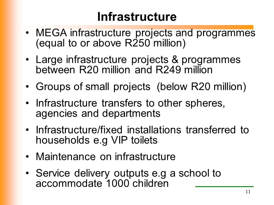 11 Infrastructure MEGA infrastructure projects and programmes (equal to or above R250 million) Large infrastructure projects & programmes between R20