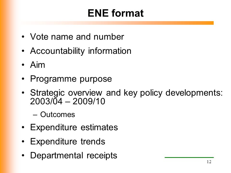 12 ENE format Vote name and number Accountability information Aim Programme purpose Strategic overview and key policy developments: 2003/04 – 2009/10