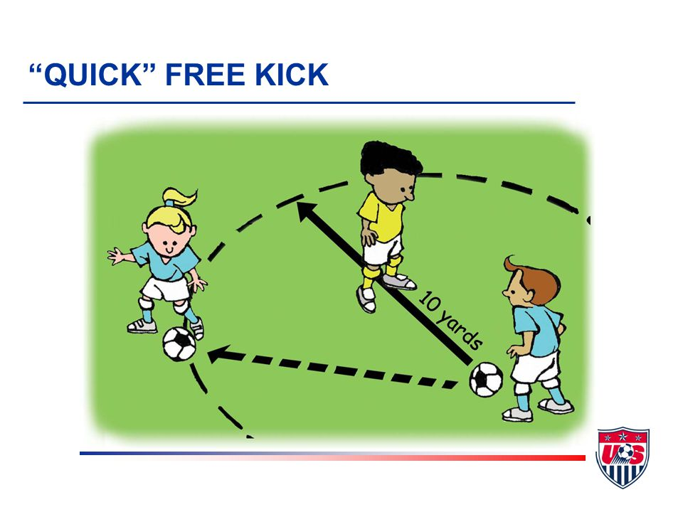 QUICK FREE KICK v Do not interfere unless: u Kicking team requests enforcement u Encroachment is blatant and obvious u You are giving a card u Injury v No violation of the Law if kick taken quickly and ball goes directly to opponent closer than 10 yards v Remember to signal if IFK