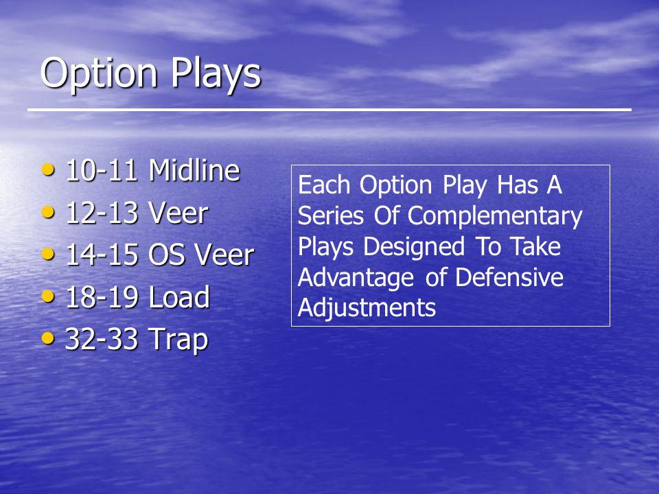 Option Plays 10-11 Midline 10-11 Midline 12-13 Veer 12-13 Veer 14-15 OS Veer 14-15 OS Veer 18-19 Load 18-19 Load 32-33 Trap 32-33 Trap Each Option Play Has A Series Of Complementary Plays Designed To Take Advantage of Defensive Adjustments