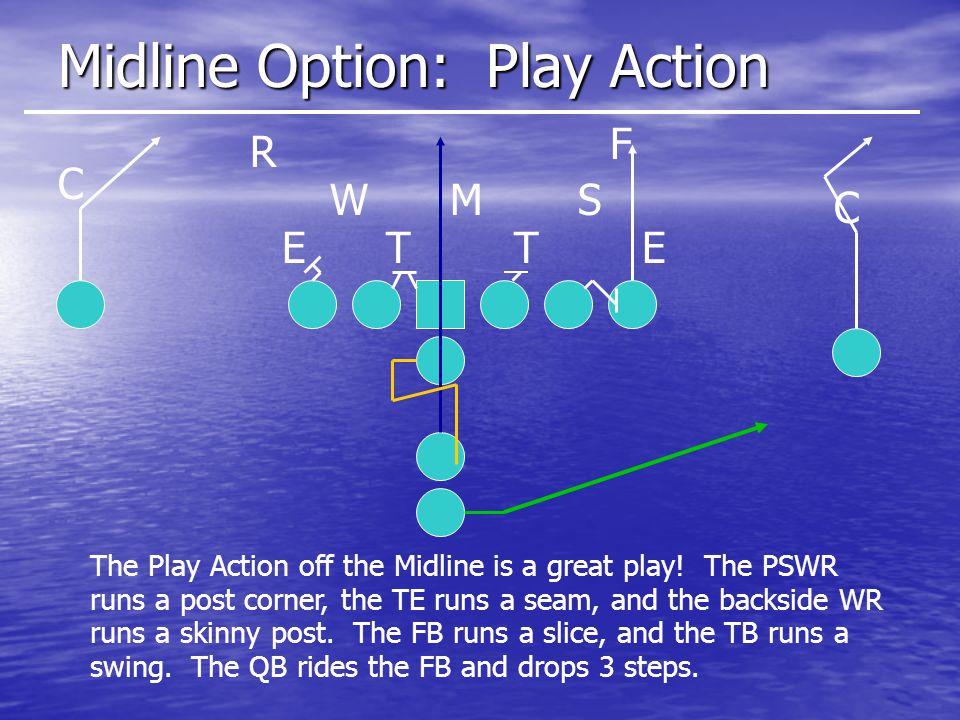 Midline Option: Play Action ETET SMW R C C F The Play Action off the Midline is a great play.