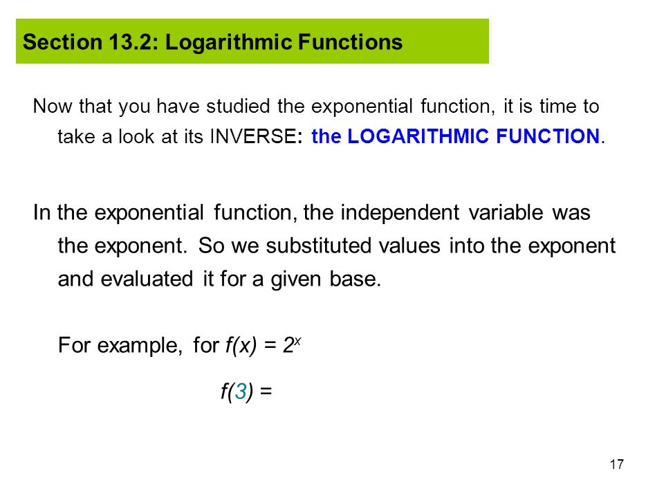 Exponential Function Examples in The Exponential Function