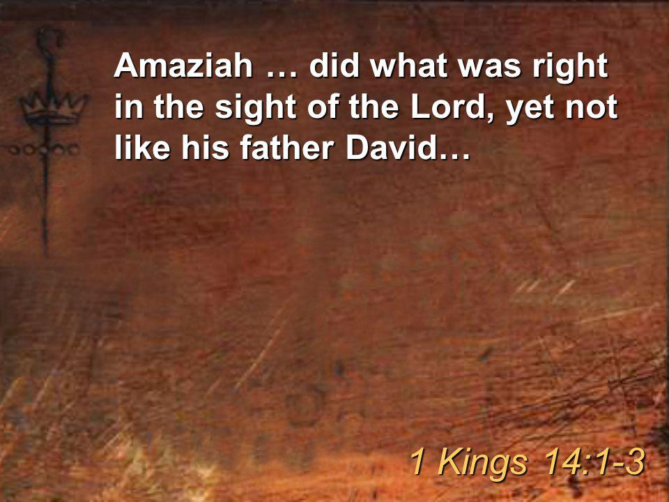 Amaziah … did what was right in the sight of the Lord, yet not like his father David… 1 Kings 14:1-3