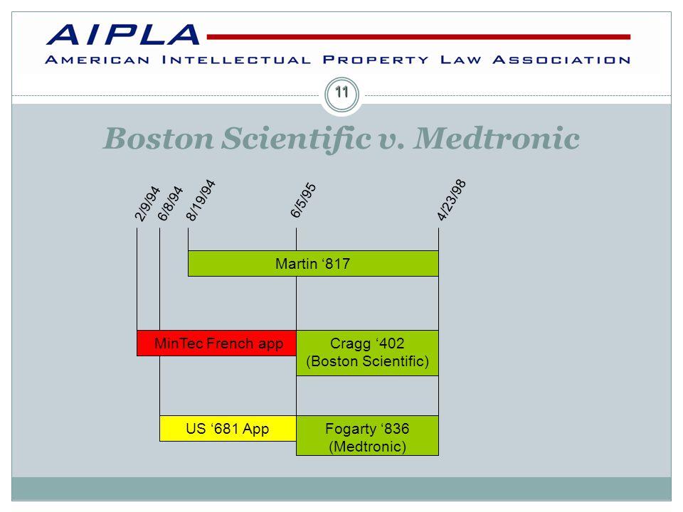 Cragg '402 (Boston Scientific) 8/19/94 Martin '817 Fogarty '836 (Medtronic) MinTec French app US '681 App 4/23/98 2/9/94 6/5/95 6/8/94 11 Boston Scientific v.