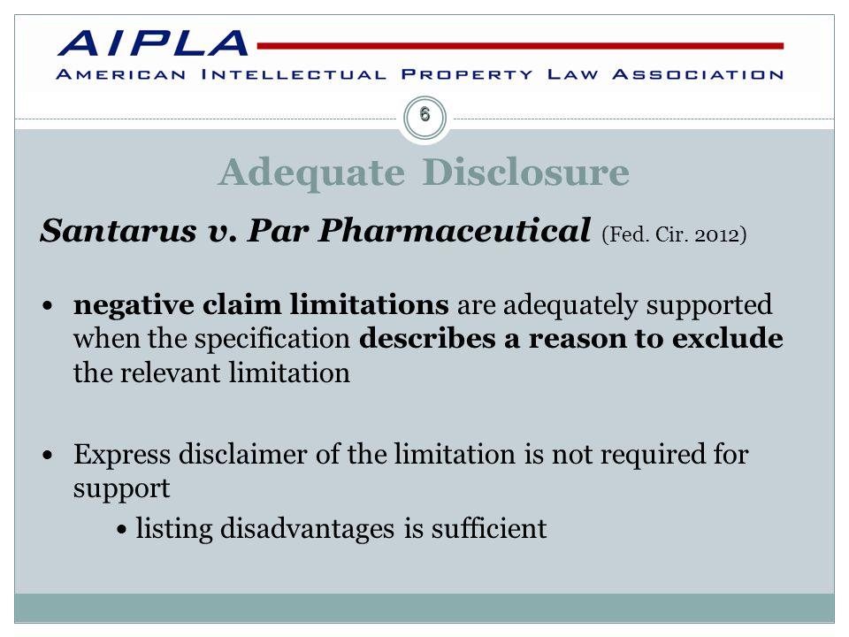 Adequate Disclosure Santarus v.Par Pharmaceutical (Fed.