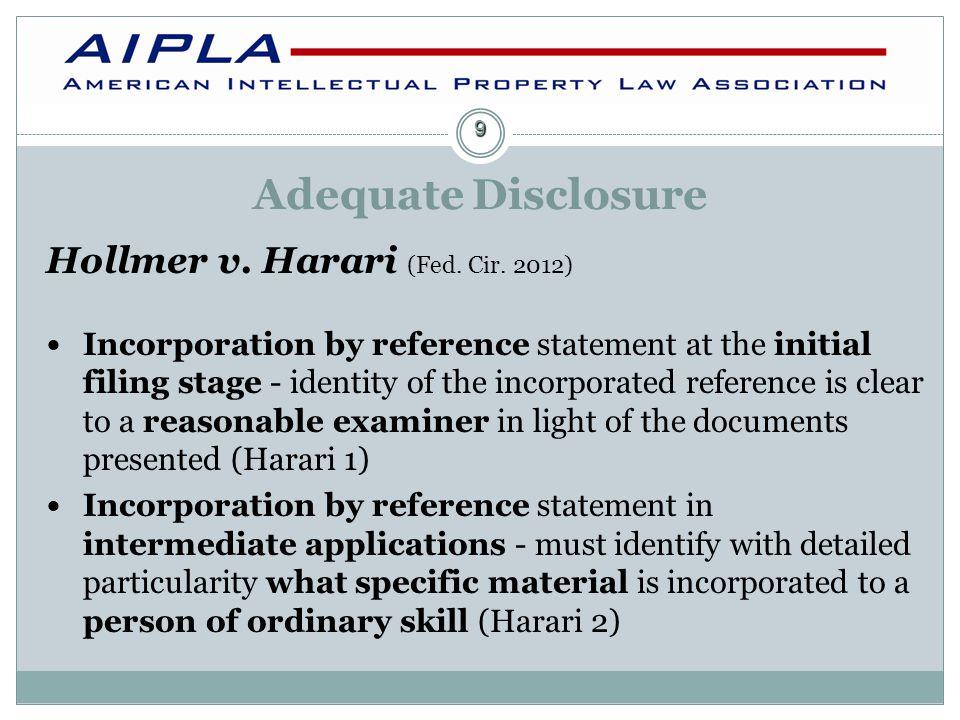 Adequate Disclosure Hollmer v.Harari (Fed. Cir.
