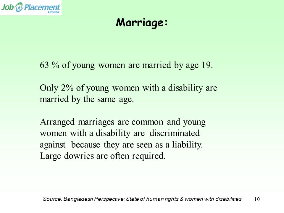 Source: Bangladesh Perspective: State of human rights & women with disabilities Marriage: 63 % of young women are married by age 19. Only 2% of young