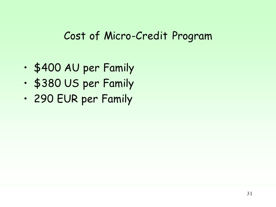 Cost of Micro-Credit Program $400 AU per Family $380 US per Family 290 EUR per Family 31