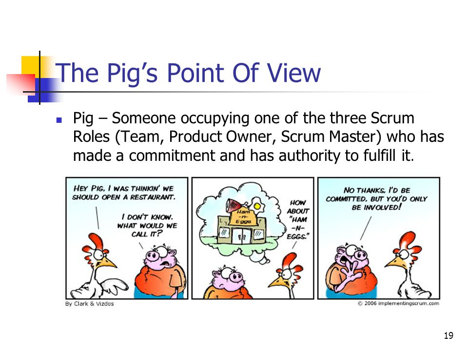 19 Pig – Someone occupying one of the three Scrum Roles (Team, Product Owner, Scrum Master) who has made a commitment and has authority to fulfill it.