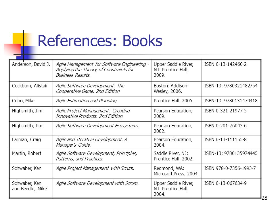 28 References: Books Anderson, David J.Agile Management for Software Engineering - Applying the Theory of Constraints for Business Results.