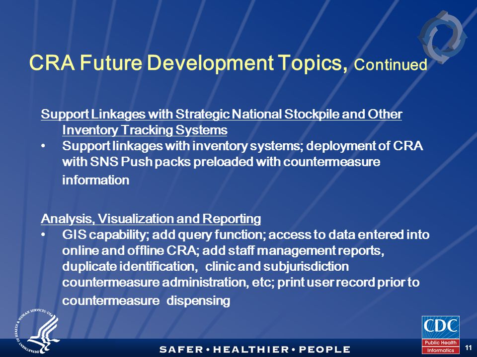 TM 11 CRA Future Development Topics, Continued Support Linkages with Strategic National Stockpile and Other Inventory Tracking Systems Support linkages with inventory systems; deployment of CRA with SNS Push packs preloaded with countermeasure information Analysis, Visualization and Reporting GIS capability; add query function; access to data entered into online and offline CRA; add staff management reports, duplicate identification, clinic and subjurisdiction countermeasure administration, etc; print user record prior to countermeasure dispensing
