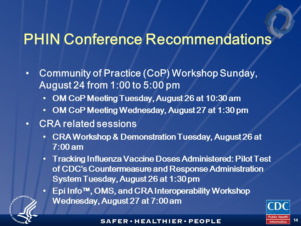 TM 14 PHIN Conference Recommendations Community of Practice (CoP) Workshop Sunday, August 24 from 1:00 to 5:00 pm OM CoP Meeting Tuesday, August 26 at 10:30 am OM CoP Meeting Wednesday, August 27 at 1:30 pm CRA related sessions CRA Workshop & Demonstration Tuesday, August 26 at 7:00 am Tracking Influenza Vaccine Doses Administered: Pilot Test of CDC's Countermeasure and Response Administration System Tuesday, August 26 at 1:30 pm Epi Info™, OMS, and CRA Interoperability Workshop Wednesday, August 27 at 7:00 am