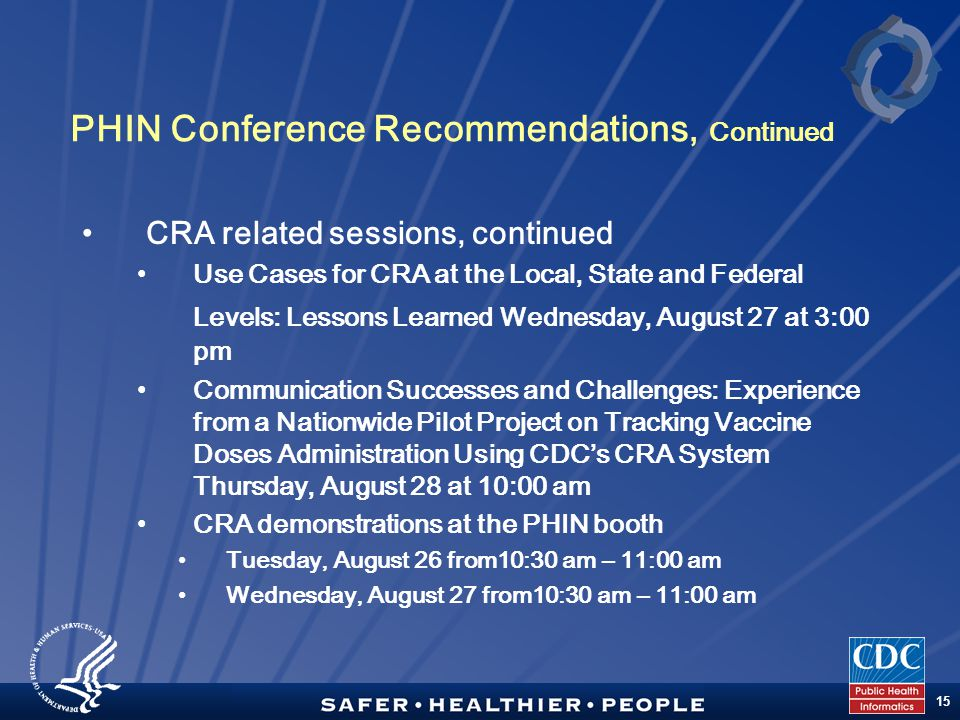 TM 15 PHIN Conference Recommendations, Continued CRA related sessions, continued Use Cases for CRA at the Local, State and Federal Levels: Lessons Learned Wednesday, August 27 at 3:00 pm Communication Successes and Challenges: Experience from a Nationwide Pilot Project on Tracking Vaccine Doses Administration Using CDC's CRA System Thursday, August 28 at 10:00 am CRA demonstrations at the PHIN booth Tuesday, August 26 from10:30 am – 11:00 am Wednesday, August 27 from10:30 am – 11:00 am