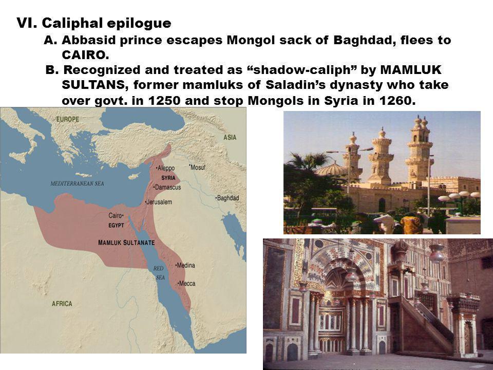 VI. Caliphal epilogue A. Abbasid prince escapes Mongol sack of Baghdad, flees to CAIRO.