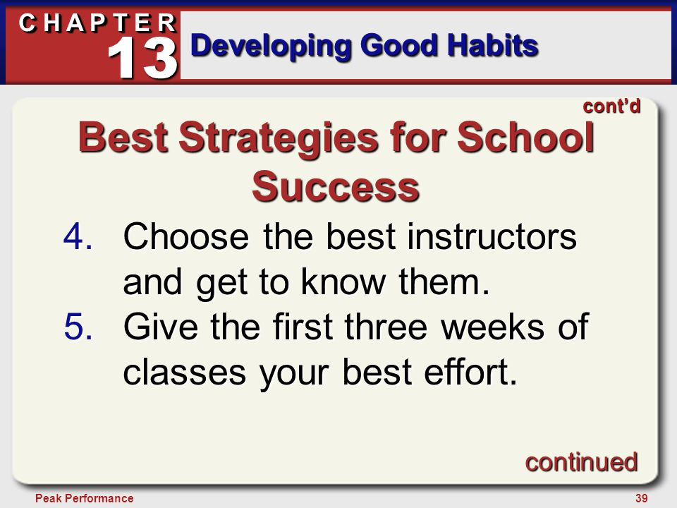 39Peak Performance C H A P T E R Developing Good Habits 13 Best Strategies for School Success 4.Choose the best instructors and get to know them. 5.Gi