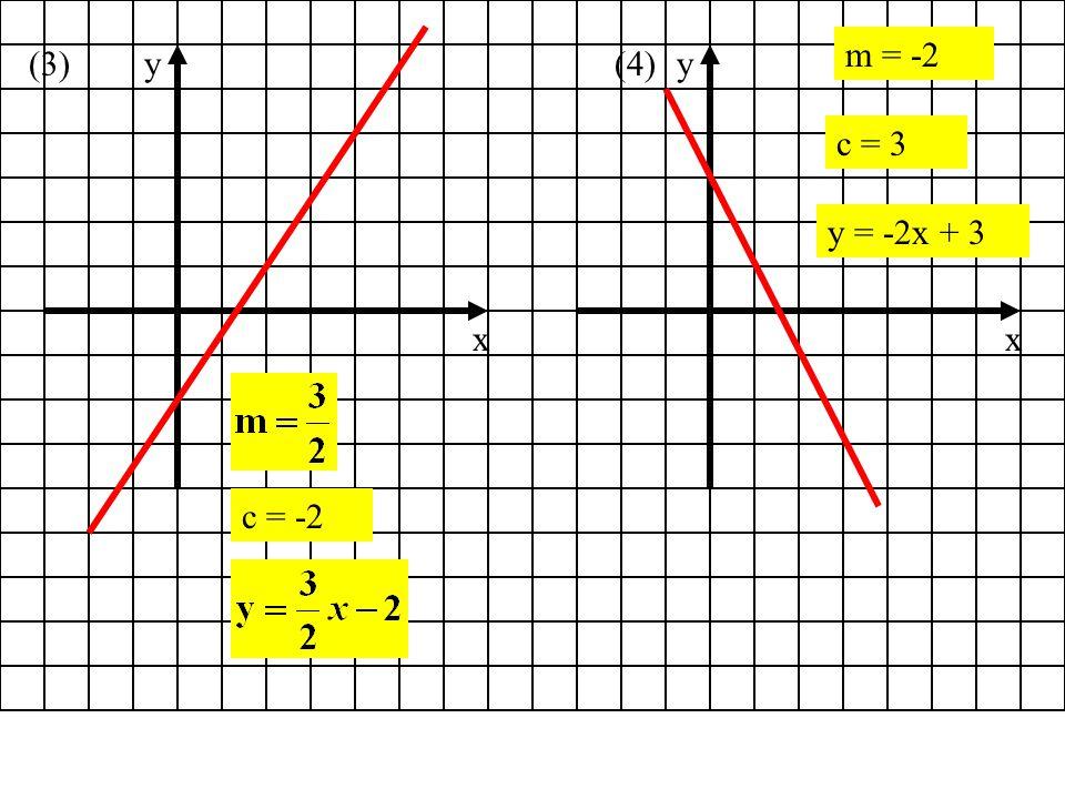 x y (5) c = 6 (6) x y c = 2