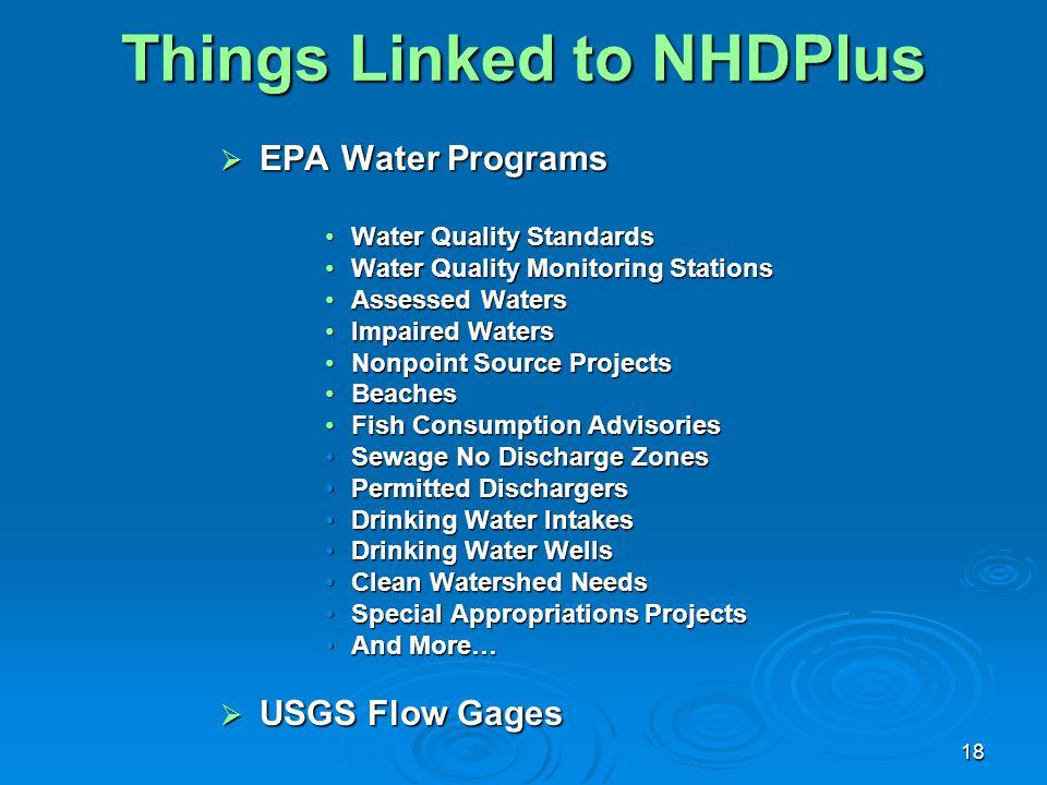 18 Things Linked to NHDPlus  EPA Water Programs Water Quality StandardsWater Quality Standards Water Quality Monitoring StationsWater Quality Monitor