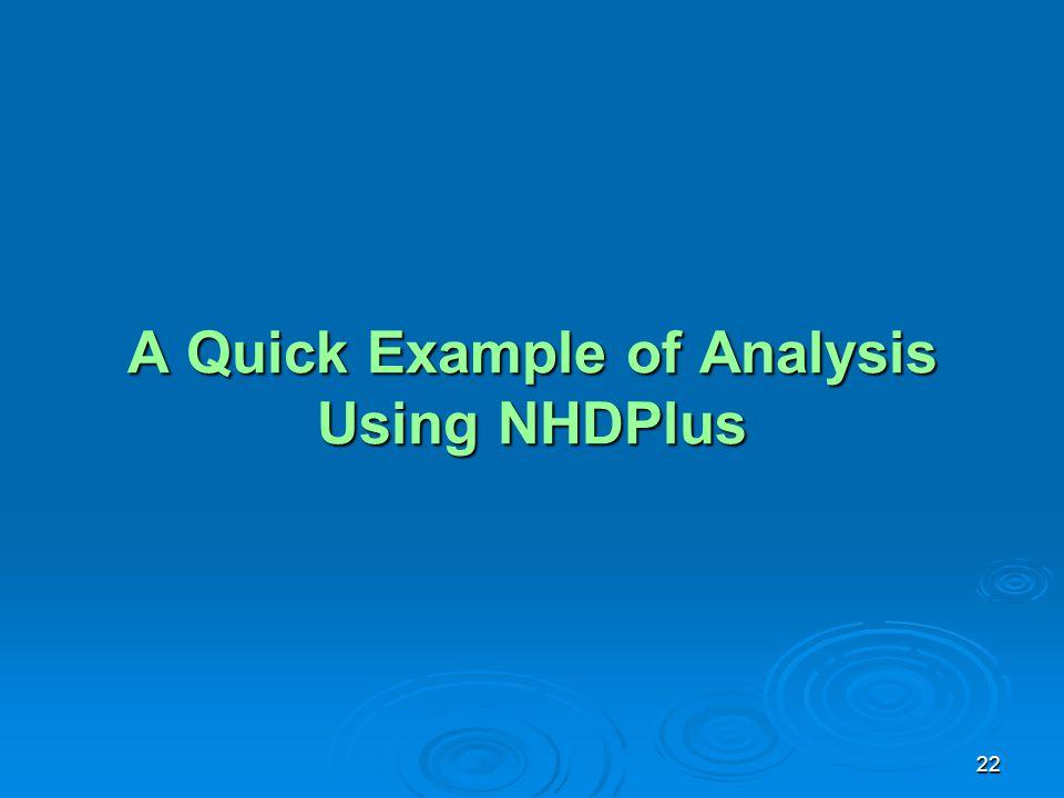 22 A Quick Example of Analysis Using NHDPlus