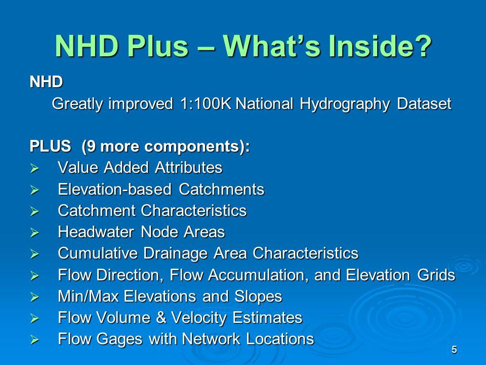 5 NHD Plus – What's Inside? NHD Greatly improved 1:100K National Hydrography Dataset Greatly improved 1:100K National Hydrography Dataset PLUS (9 more