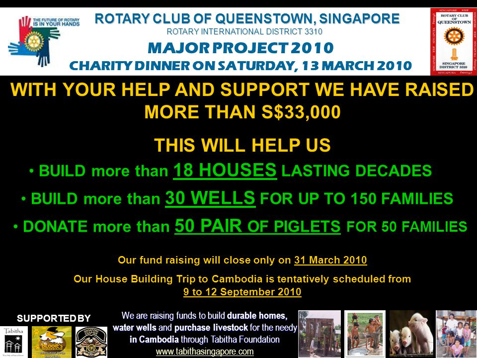 ROTARY CLUB OF QUEENSTOWN, SINGAPORE ROTARY INTERNATIONAL DISTRICT 3310 MAJOR PROJECT 2010 CHARITY DINNER ON SATURDAY, 13 MARCH 2010 We are raising funds to build durable homes, water wells and purchase livestock for the needy in Cambodia through Tabitha Foundation in Cambodia through Tabitha Foundation www.tabithasingapore.com www.tabithasingapore.com SUPPORTED BY THE EVENING'S PROGRAM 6.30pmHarley Rides by Harley Owners' Group 6.45pmWelcome Note 7.00pmIntroduction to Rotary Club of Queenstown 7.05pmDinner Commences 7.20pmEntertainment (Erick Guangsing & friends) 7.50pm President Bruno Finetto's Thank You Note 8.00pm Tabitha Presentation by Mr Paul Koebnick 8.25pm Charity Auction 9.00pmEntertainment (South Fools Crisis) 10.00pmDinner ends Fellowship continues