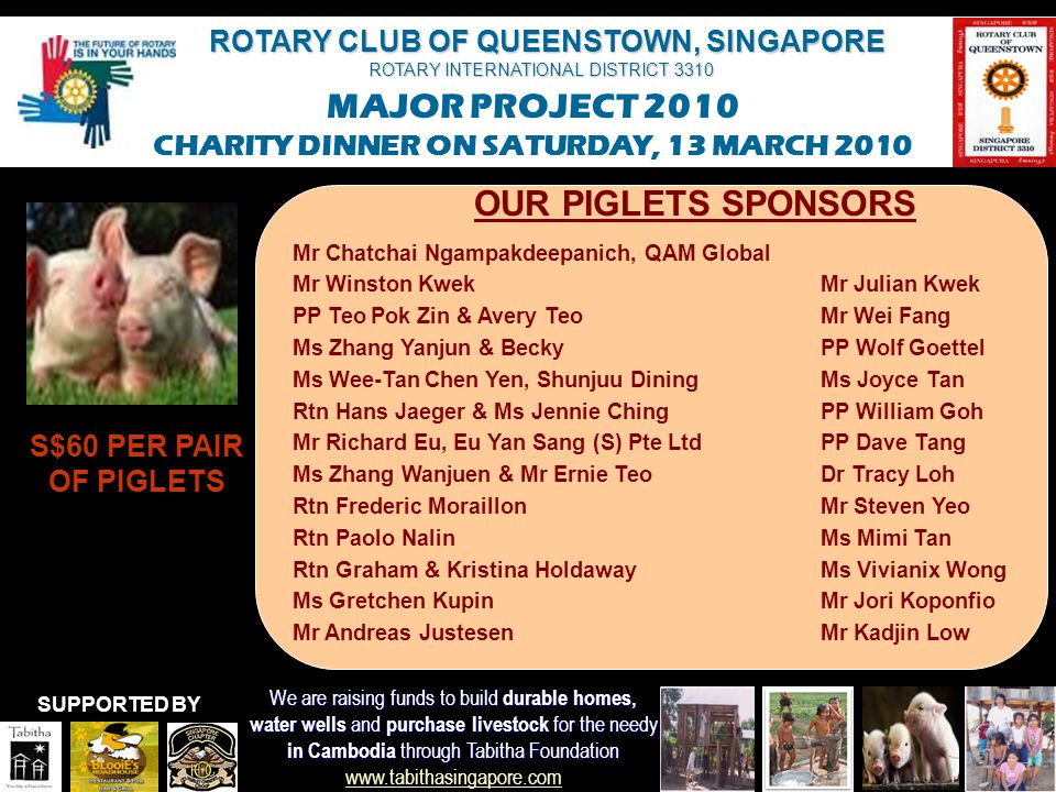 ROTARY CLUB OF QUEENSTOWN, SINGAPORE ROTARY INTERNATIONAL DISTRICT 3310 MAJOR PROJECT 2010 CHARITY DINNER ON SATURDAY, 13 MARCH 2010 We are raising funds to build durable homes, water wells and purchase livestock for the needy in Cambodia through Tabitha Foundation in Cambodia through Tabitha Foundation www.tabithasingapore.com www.tabithasingapore.com SUPPORTED BY OUR PIGLETS SPONSORS S$60 PER PAIR OF PIGLETS 10 pairs Friends of Ailay 5 pairs PP Fred & Susanne Binggeli 2 Pairs Ms Yvonne Yeo Mr Colin Ong, Advisors Clique/GE Mr Kelvin Tay, UBS Rtn Dr Wong Yik Mun PE Hartwig & Karina Schulze Eckardt
