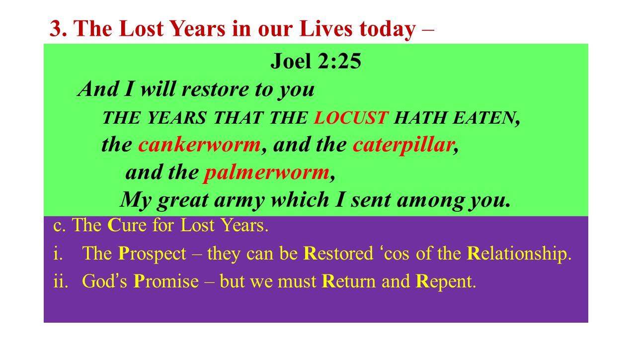 3. The Lost Years in our Lives today – a. the Latent Causes: b.The Cost of Lost Years. Lost Years are Costly… i.To the individual Christian – No Progr