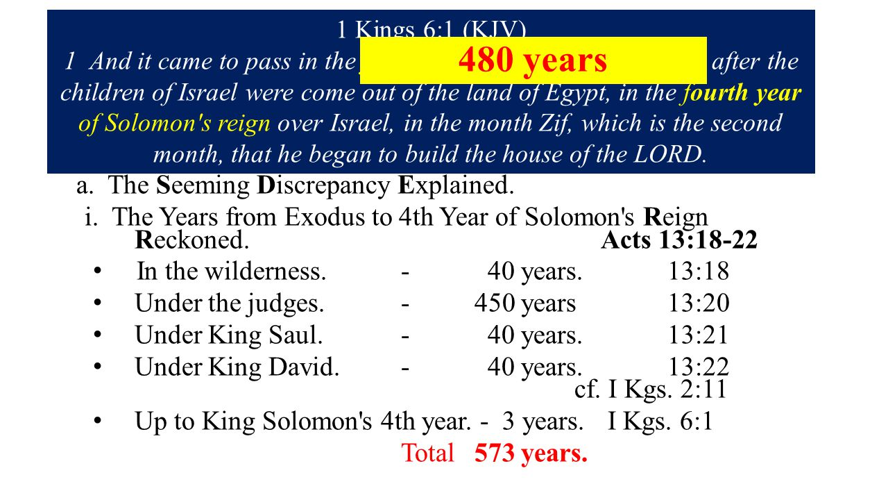 1. The Lost Years in the Wilderness Wanderings. 2. The Lost Years of Slaving Servitude. I Kgs. 6:1 cp. Acts 13:18-22 a. The Seeming Discrepancy Explai