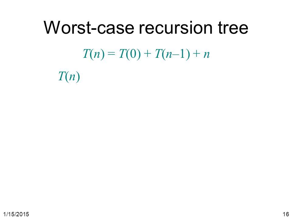 1/15/201516 Worst-case recursion tree T(n) = T(0) + T(n–1) + n T(n)T(n)