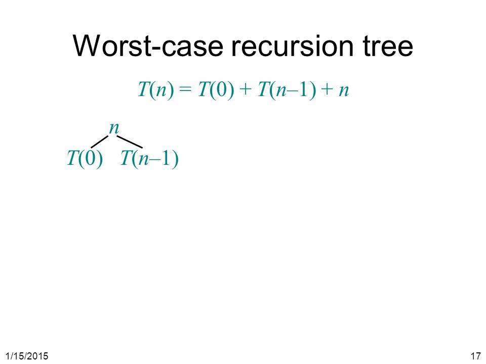 1/15/201517 n T(0)T(n–1) Worst-case recursion tree T(n) = T(0) + T(n–1) + n