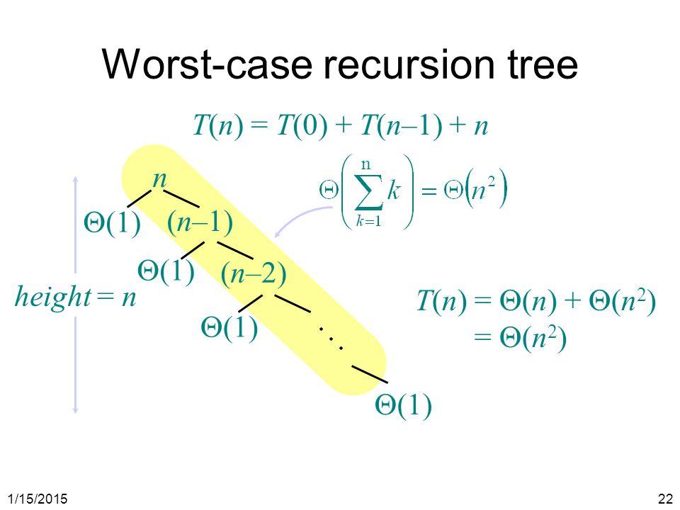1/15/201522 n (n–1) Worst-case recursion tree T(n) = T(0) + T(n–1) + n (n–2)  (1) n height = n  (1) T(n)=  (n) +  (n 2 ) =  (n 2 )