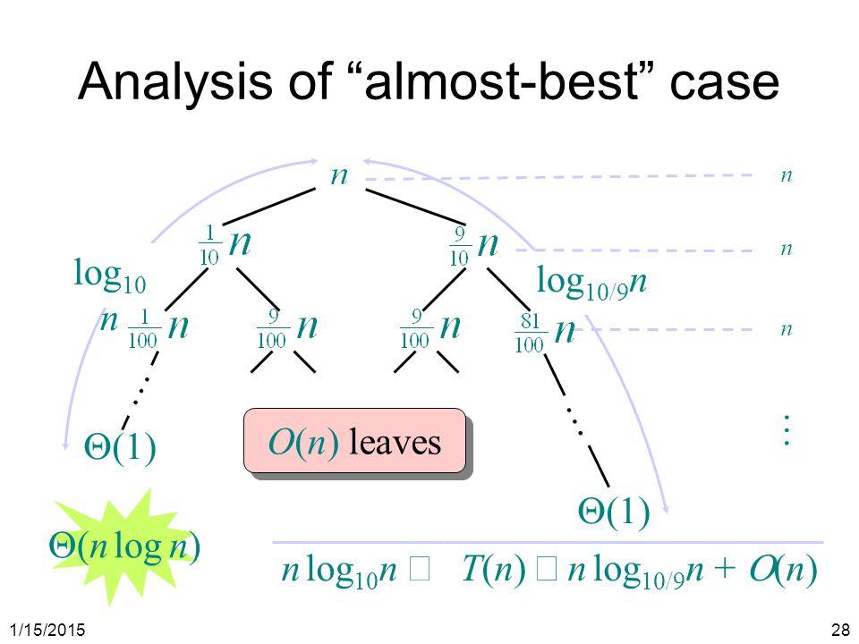 """1/15/201528 log 10 n Analysis of """"almost-best"""" case  (1) … … log 10/9 n T(n)  n log 10/9 n +  (n) … n log 10 n  O(n) leaves  (n log n)"""