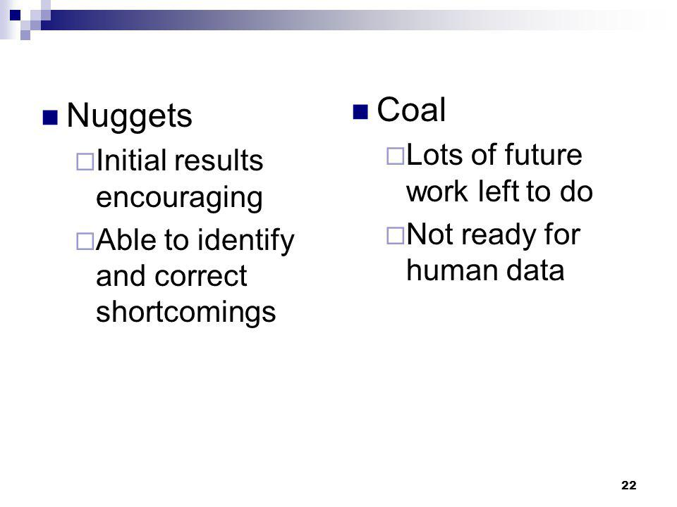 22 Nuggets  Initial results encouraging  Able to identify and correct shortcomings Coal  Lots of future work left to do  Not ready for human data