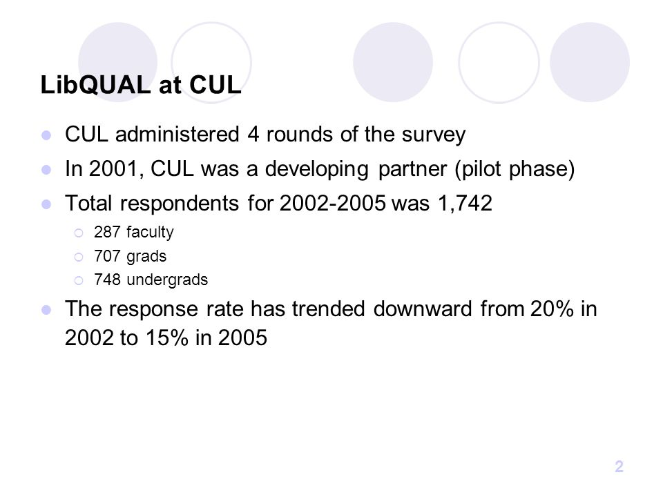 2 LibQUAL at CUL CUL administered 4 rounds of the survey In 2001, CUL was a developing partner (pilot phase) Total respondents for 2002-2005 was 1,742  287 faculty  707 grads  748 undergrads The response rate has trended downward from 20% in 2002 to 15% in 2005