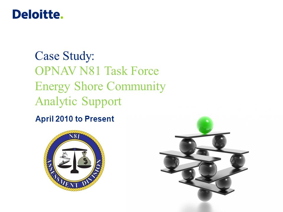 Case Study: OPNAV N81 Task Force Energy Shore Community Analytic Support April 2010 to Present
