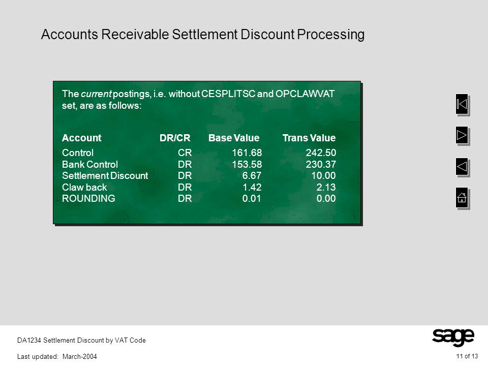 11 of 13 DA1234 Settlement Discount by VAT Code Last updated: March-2004 The current postings, i.e.