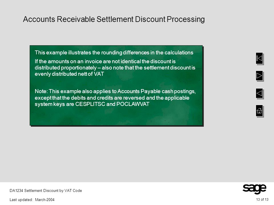 13 of 13 DA1234 Settlement Discount by VAT Code Last updated: March-2004 Accounts Receivable Settlement Discount Processing This example illustrates the rounding differences in the calculations If the amounts on an invoice are not identical the discount is distributed proportionately – also note that the settlement discount is evenly distributed nett of VAT Note: This example also applies to Accounts Payable cash postings, except that the debits and credits are reversed and the applicable system keys are CESPLITSC and POCLAWVAT