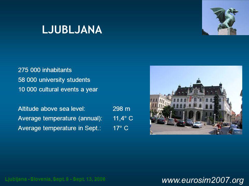 Ljubljana - Slovenia, Sept. 9 - Sept. 13, 2006 www.eurosim2007.org LJUBLJANA 275 000 inhabitants 58 000 university students 10 000 cultural events a y