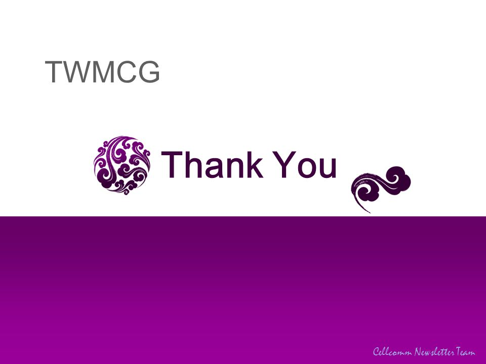 TWMCG Cellcomm Newsletter Team Thank You