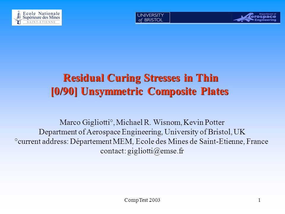 CompTest 20031 Residual Curing Stresses in Thin [0/90] Unsymmetric Composite Plates Marco Gigliotti°, Michael R.