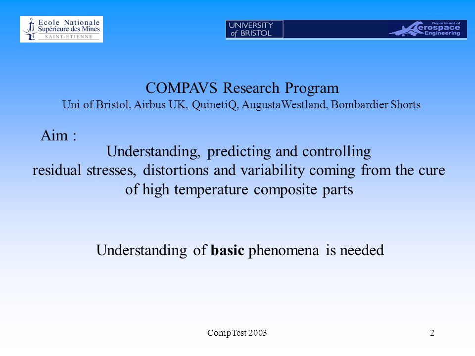 CompTest 20032 COMPAVS Research Program Uni of Bristol, Airbus UK, QuinetiQ, AugustaWestland, Bombardier Shorts Aim : Understanding, predicting and controlling residual stresses, distortions and variability coming from the cure of high temperature composite parts Understanding of basic phenomena is needed