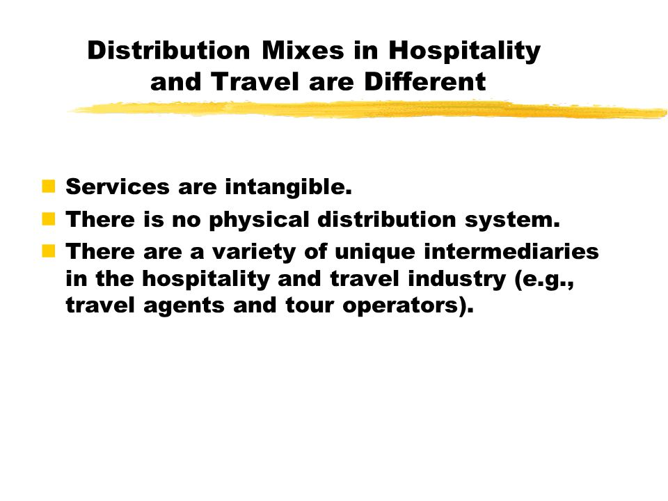 The Distribution Mix Two main components: Direct distribution: the organization assumes total responsibility for promoting, reserving, and providing services to customers.