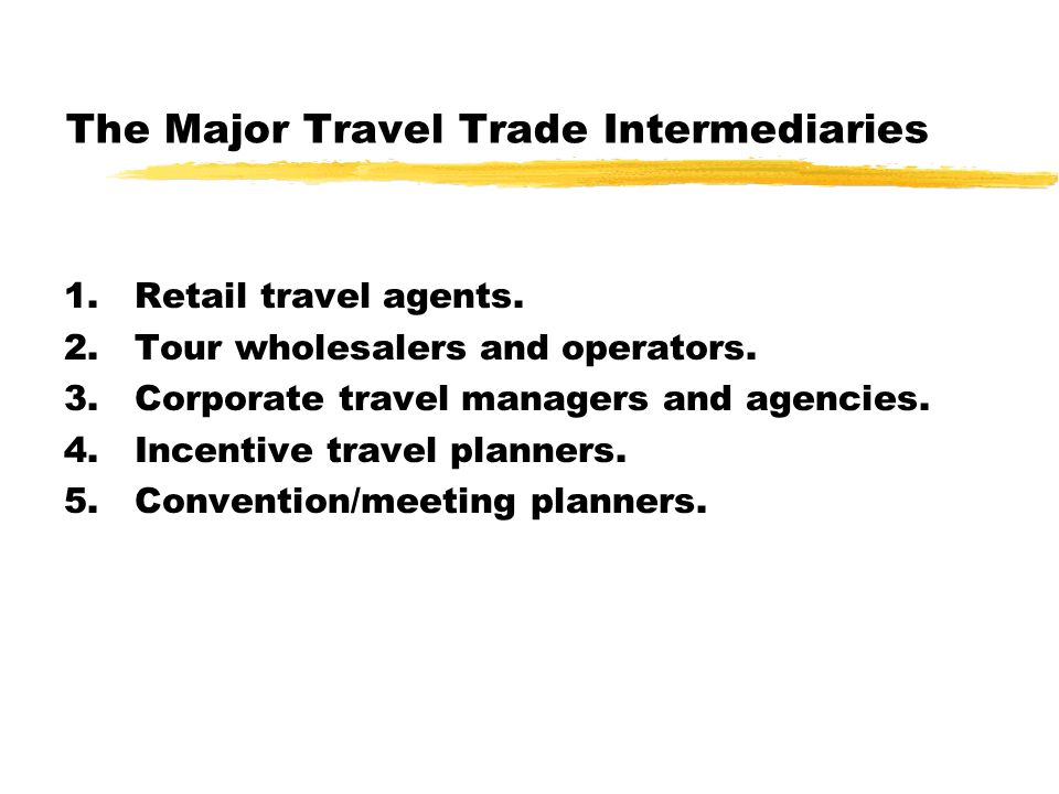 Roles Played by Travel Trade Intermediaries Roles of retail travel agents Expanding the distribution network for suppliers, carriers, and other intermediaries.