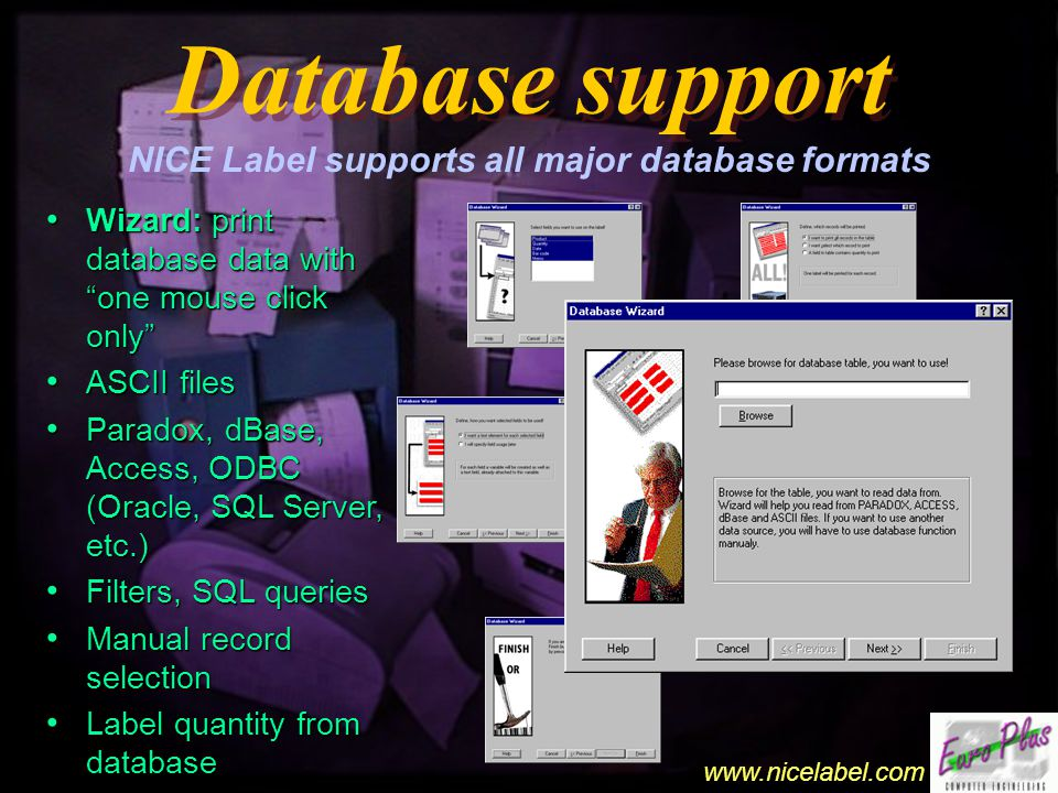 www.nicelabel.com Barcode support Barcode support Virtually any barcode type can be used Standard barcodes: EAN-13, EAN-8, Upc-A, Upc-E, Interleaved 2 of 5, Code 39, Code 93, Code 128, Postnet, Codabar, Bookland, etc.
