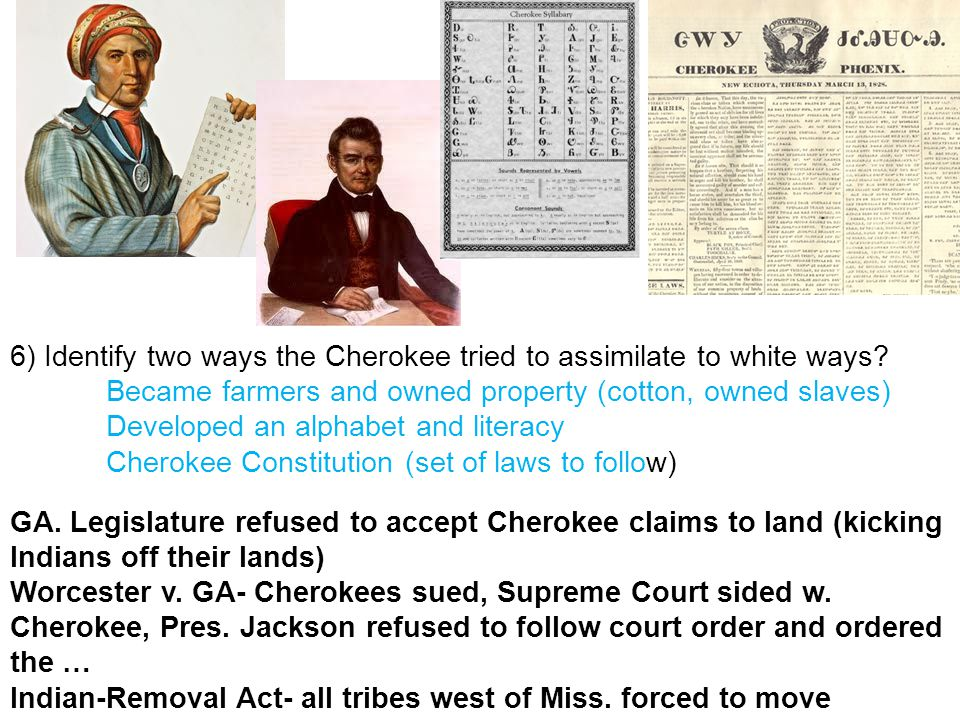 6) Identify two ways the Cherokee tried to assimilate to white ways.