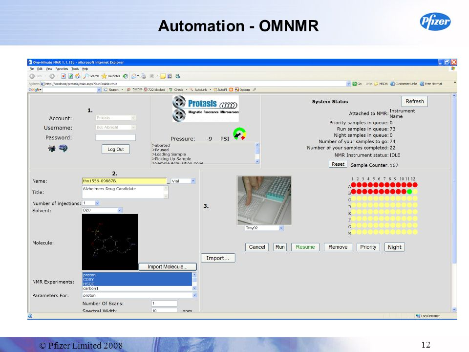 © Pfizer Limited 2008 12 Automation - OMNMR