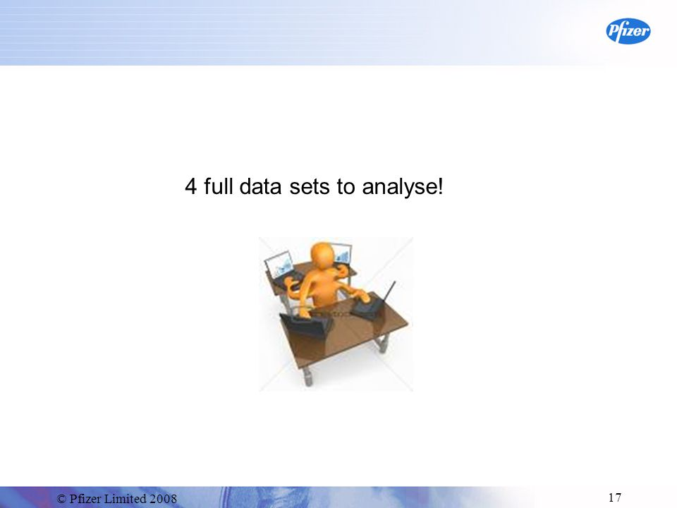 © Pfizer Limited 2008 17 4 full data sets to analyse!