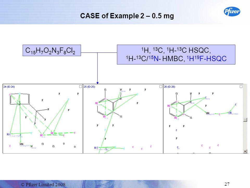 © Pfizer Limited 2008 27 CASE of Example 2 – 0.5 mg C 15 H 7 O 2 N 3 F 8 Cl 2 1 H, 13 C, 1 H- 13 C HSQC, 1 H- 13 C/ 15 N- HMBC, 1 H 19 F-HSQC
