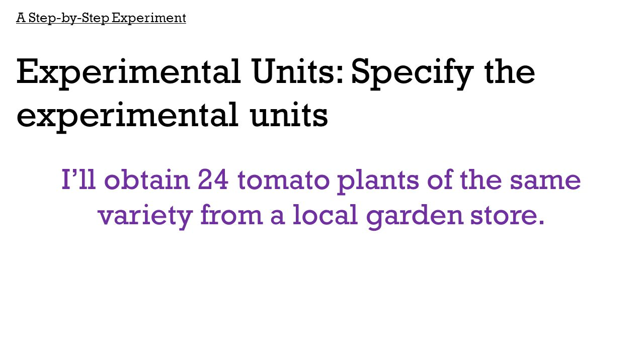 A Step-by-Step Experiment Experimental Units: Specify the experimental units I'll obtain 24 tomato plants of the same variety from a local garden stor