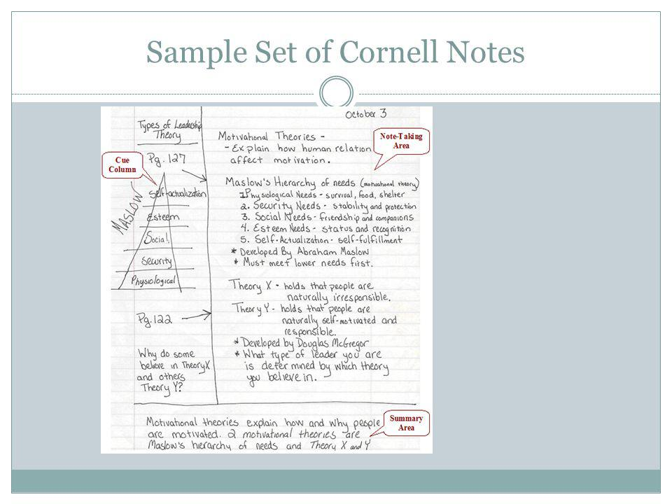 Sample Set of Cornell Notes